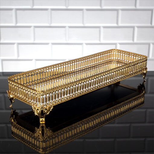 Gold Color Long Pearl Design Mirror Tray
