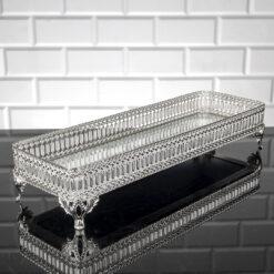 Silver Color Long Pearl Design Mirror Tray