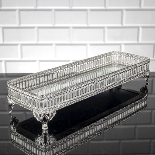 Silver Color Long Pearl Design Mirror Tray