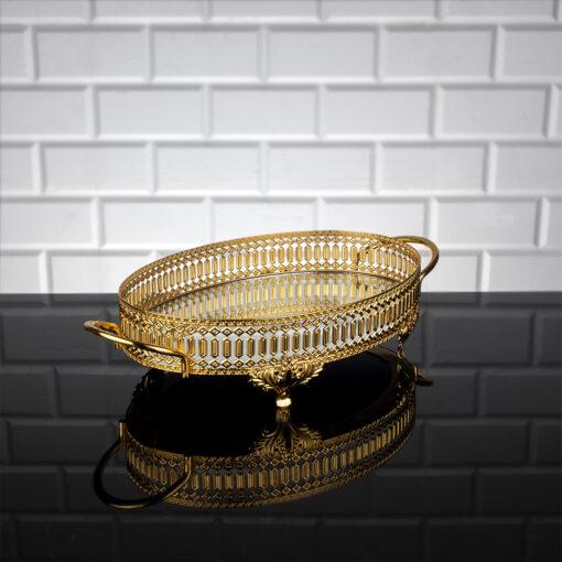 Gold Color Oval Pearl Design Mirror Tray