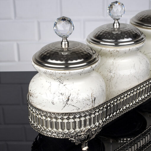Marble Design Silver Color Jar Set