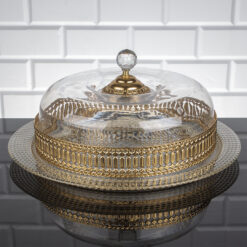 Gold Color Cake Stand With Lid