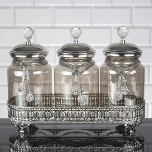 Sultan Silver Color Jar Set With Metal Stand