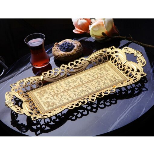Ahsen Gold Color Serving Tray For 2 Glasses