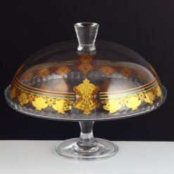 Gold Color Glass Cake Stand With Lid