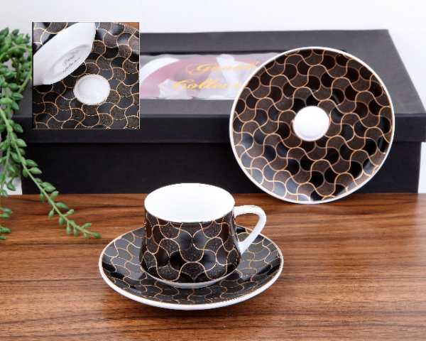 Mia Porcelain Black Turkish Coffee Set