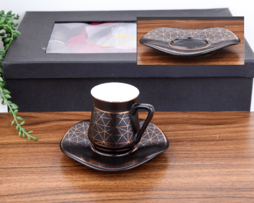 Seljuk Pattern Porcelain Black Turkish Coffee Set