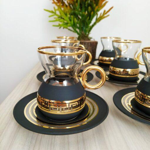 Organic Dyed Black Color Turkish Tea Set With Holder