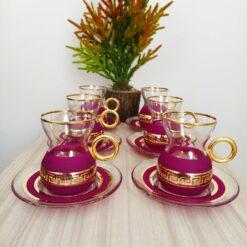 Organic Dyed Purple Color Turkish Tea Set With Holder