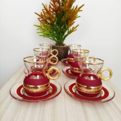 Organic Dyed Red Color Turkish Tea Set With Holder