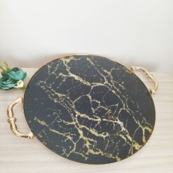Gold Color Round Marble Design Tray