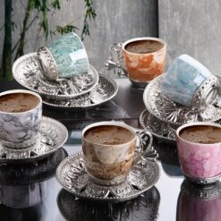 Colorfull Marble Design Luxury Silver Color Coffee Set