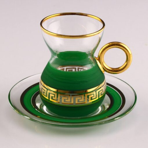 Organic Dyed Green Color Turkish Tea Set With Holder