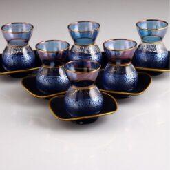 Carved Blue Color Ottoman Tea Set With Black Saucers
