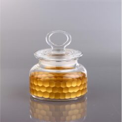 Honeycomb  Gold Color Round Spice Bowl With Lid