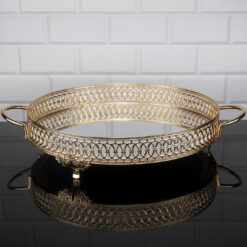 Gold Color Round LuLu Model Mirror Tray