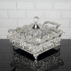 Roza Silver Color Mirror Large Snack Bowl