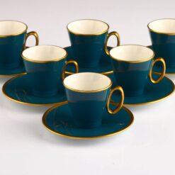 Organic Dyed Kumru Turquoisse Turkish Porcelain Coffee Set