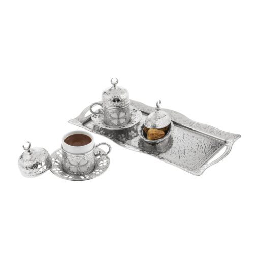 Clover Design Silver Color Coffee Set For Two Person