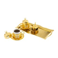 Clover Design Gold Color Coffee Set For Two Person
