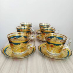 Beyza Gold Coffee Mugs-Tea Glasses For Six Person