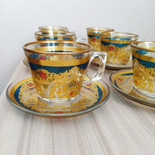 Beyza Gold Coffee Mugs-Tea Glasses For Six Person