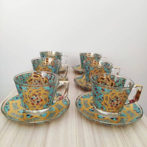 Star Turquoisse Coffee Mugs-Tea Glasses For Six Person