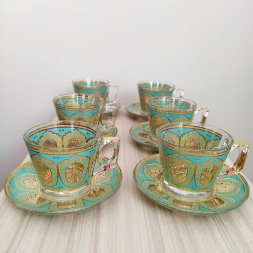 Sky Turquoisse Coffee Mugs-Tea Glasses For Six Person