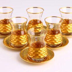 Hisar Gold Color Tea Set With Metal Saucers