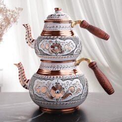 Handpainted White Color Copper Turkish Tea Pot