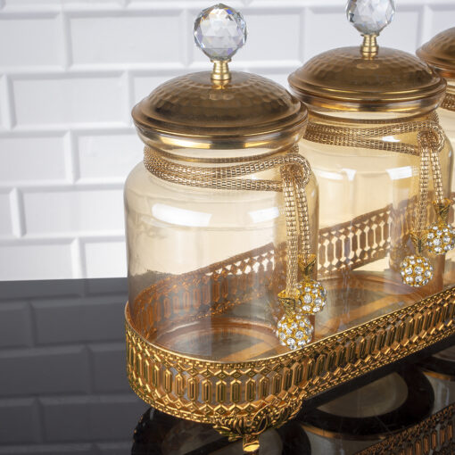 Sultan Gold Color Jar Set With Metal Stand